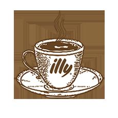Ilustración taza café illy,